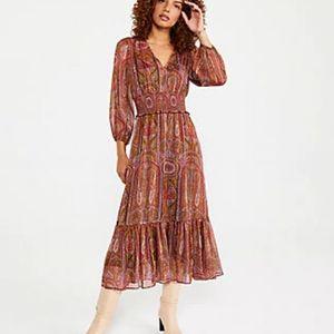 Ann Taylor Shimmer Paisley Midi Dress